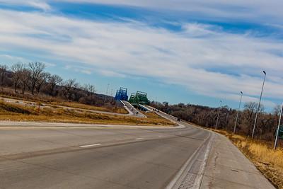 East end, Mormon Bridge, Highway I-680, Omaha, Nebraska, Missouri river,