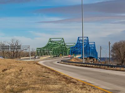 Omaha end,  Mormon Bridge, Highway I-680, Omaha, Nebraska,  Missouri river,