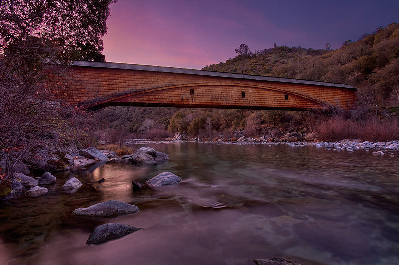Covered Bridge, Bridgeport. Spanning the South Yuba river, it is 232 feet in length. It is the longest single span bridge world (as reported on the park's website). It was built in 1862 to replace the original toll bridge built in 1851.