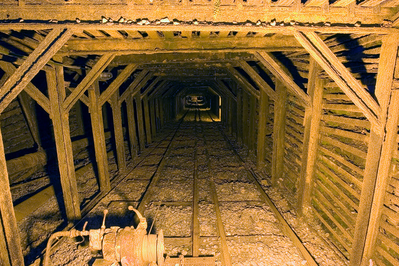 Main incline shaft of the Empire mine. It has an incline depth of 11,007 feet and a vertical depth of over 5,000 feet. The mine has an estimated 367 miles of shafts and drifts.