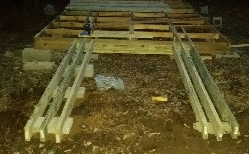 Base structure of approach ramps started-three 2x6 plus two 2x4's.