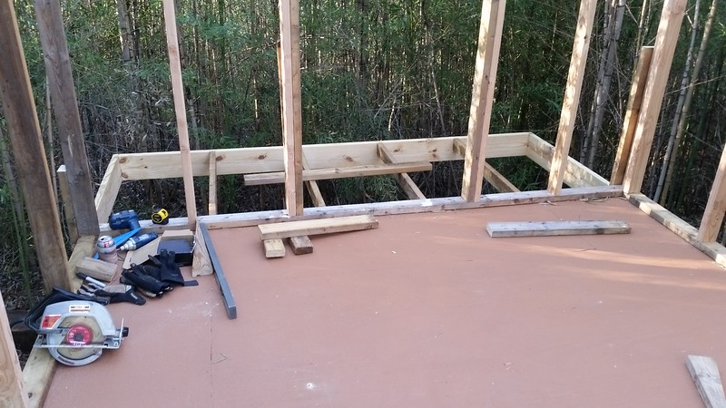 Framework for small deck on the rear of the shop. 4'×10'.