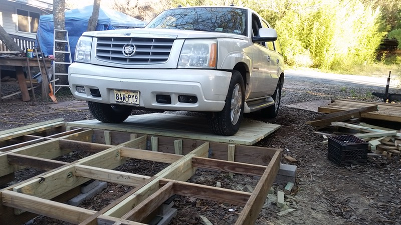 5400 pound test of ramp. No squeks or deformation.  The Judge weighs 3700 pounds.