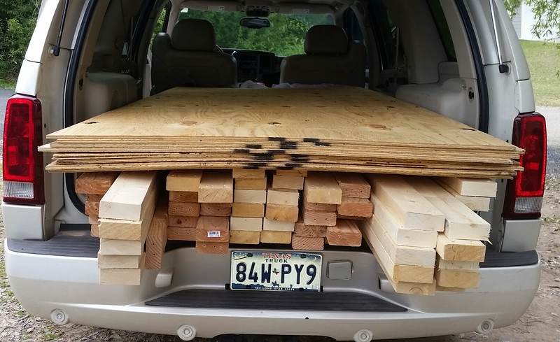 "Another load of ""Craigslist materials""... cheeeeeap...01/15/2019.    (52) 2x4's,  (8) each of 1/2"" and 1/4"" plywood.  Still have to pick up 1/2"" plywood."