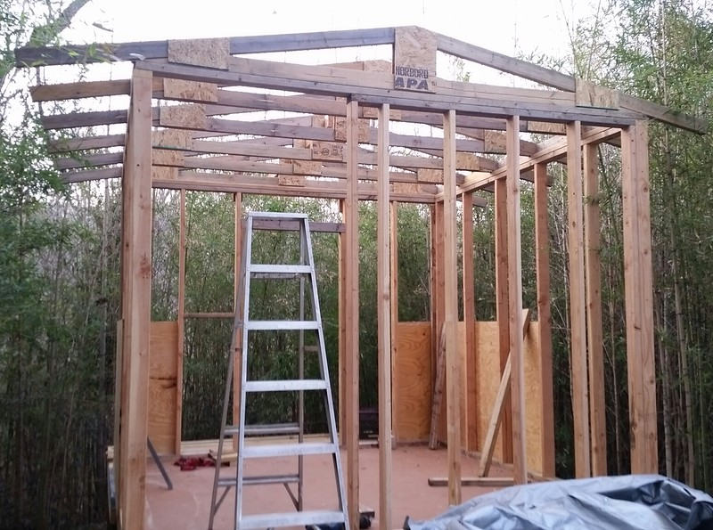 "Roof joists are up.  Now to trim them for an 18"" overhang."