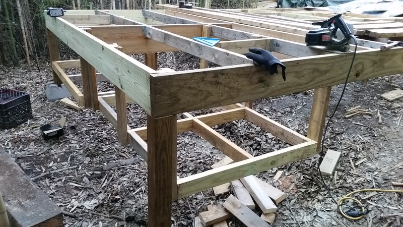 Underfloor framing for additional storage for things such as yard tools, etc...