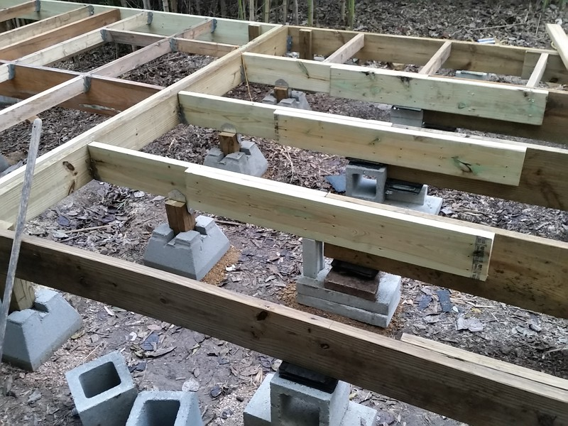 """Supports are a bit unconventional, and what one may call """"not pretty/symetrical"""" they are all significantly steady. If the entire garage section including the car amounts to 5,000 pounds, each support, theoretically will only have to support about 200 pounds per square foot, which ain't much."""