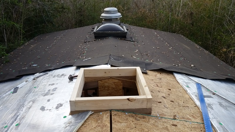 Second skylight curb and R-Max going down.