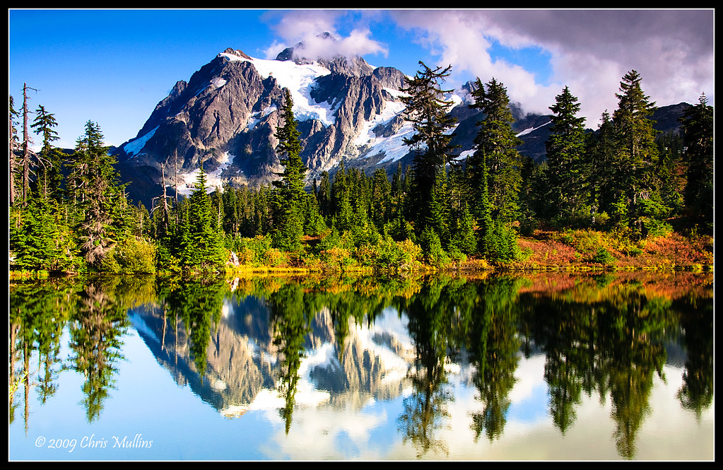 Mount Shuksun reflected in roadside lake just outside North Cascades National Park in Washington State.