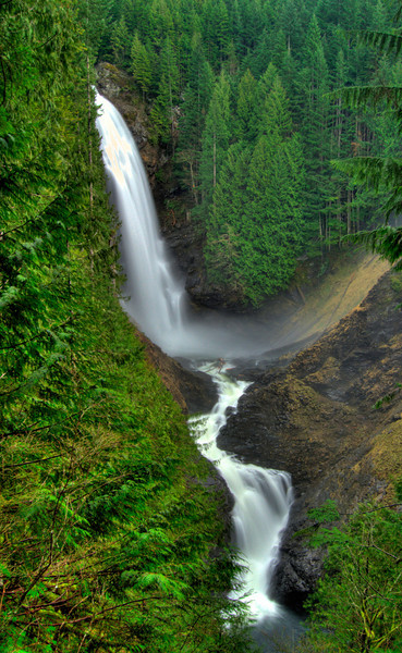 Wallace Falls State Park near Steven's Pass in Washington offers a nice climb up to this gigantic waterfall.