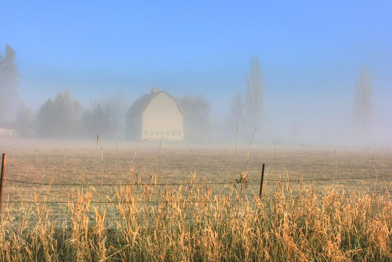 Barn in the fog sunbreak