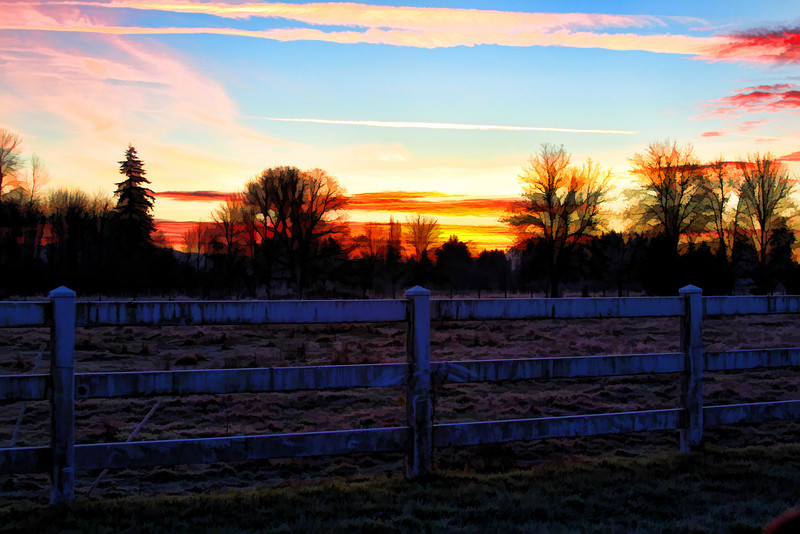 Sunrise white fence