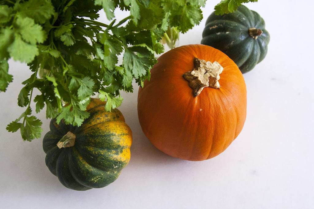 Easy, Low Cost, Minimalist Fall Centerpieces with Cilantro, Acorn Squash, and Sugar Pumpkin