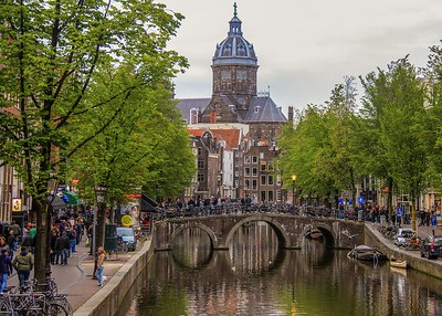 A busy bridge in Amsterdam. Bikes are everywhere for good reason. More on that later.
