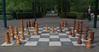 A public chess board at Keukenhof tulip gardens.
