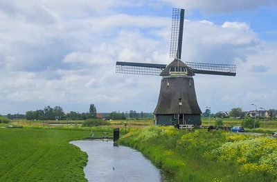 Thousands of windmills once dotted the Dutch countryside, peaking at about 10,000 in 1850. When steam and electric power came along the wind powered structures were quickly made obsolete and too expensive to maintain. Many mysteriously caught fire to collect insurance value, leaving less than a thousand across the Netherlands today.