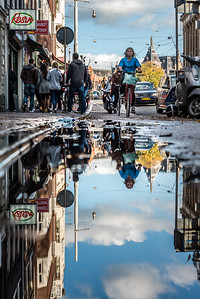 Reflection on the street of Amsterdam