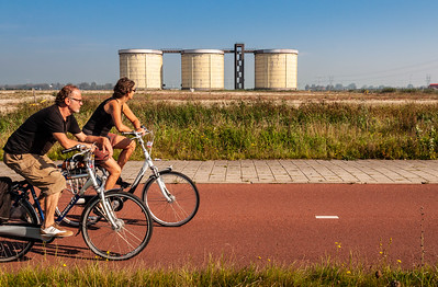 Cycling past Silo Zeeburgereiland