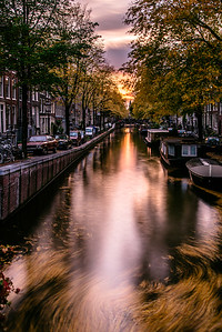 Amsterdam's canal at sunset