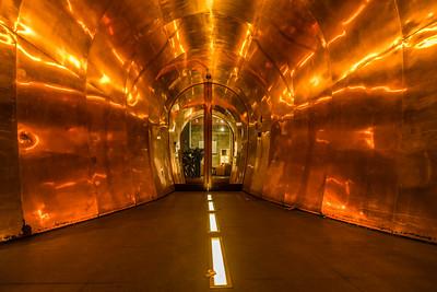 Golden entrance to Kruisherenhotel in Maastricht