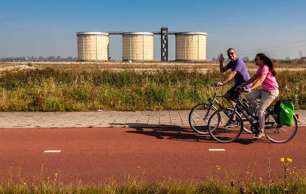 Cycling past Silo Zeeburgereiland