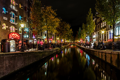 Canal at Red Light District in Amsterdam