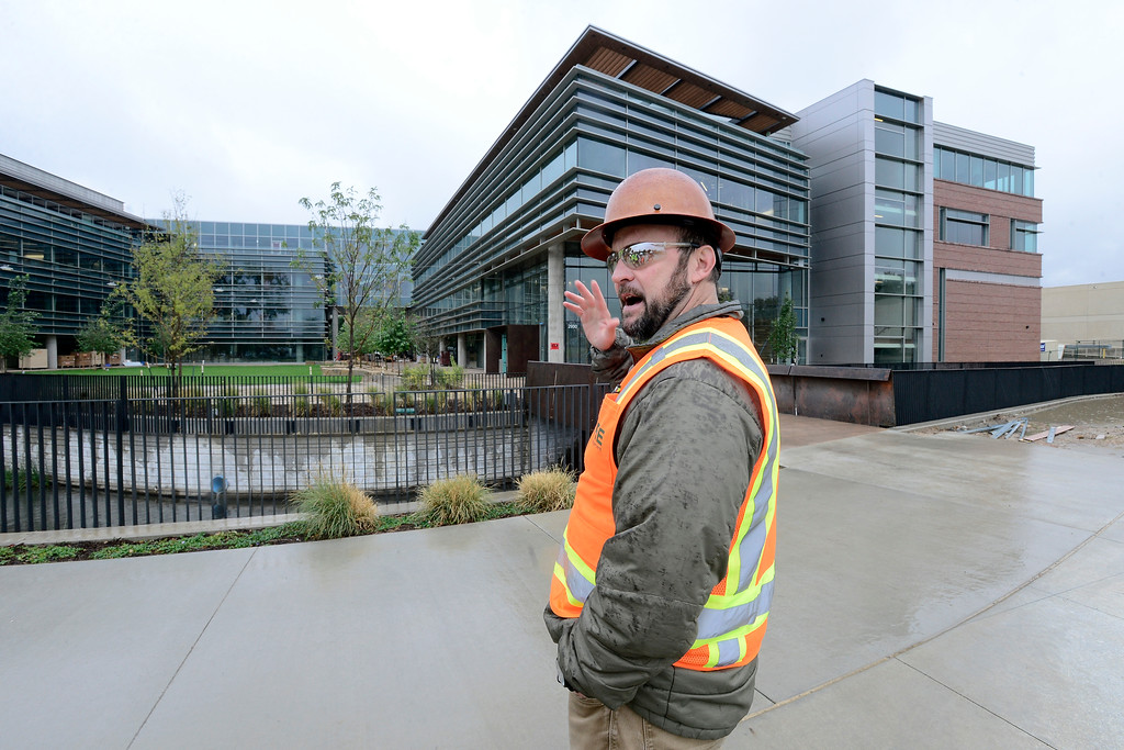 . Project Manager Mitch Blain, with CBRE, explains the building design during a tour of the new Google campus on Pearl Street in Boulder.  Jeremy Papasso/ Staff Photographer 10/02/2017