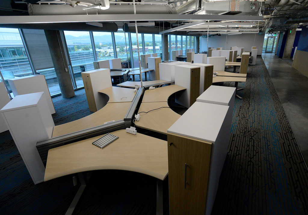 . Employee workspaces during a tour of the new Google campus on Pearl Street in Boulder. Jeremy Papasso/ Staff Photographer 10/02/2017