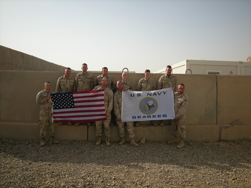 Camp Speicher - Iraq...Seabee flag donated by RVN Seabee George Murray (MCB-4)