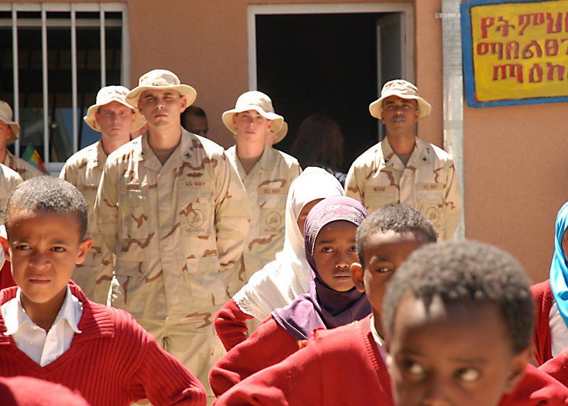 081016-N-3560G-163<br /> ADDIS ABABA, Ethiopia (Oct. 16, 2008) Seabees assigned to Naval Mobile Construction Battalion (NMCB) 4, Detachment Addis, attend the opening ceremony of the Abadir Primary School. NMCB-4 took part in refurbishing the schoolÕs interior, exterior, latrine facility and the electrical system. NMCB-4 is on a six-month deployment supporting Combined Joint Task Force-Horn of Africa and completing missions in various countries in Eastern Africa. (U.S. Navy photo by Mass Communication Specialist 2nd Class Ronald Gutridge/Released)