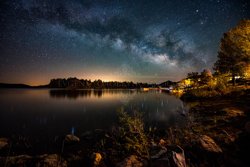 The Milky Way Rising Over Lake Cuyamaca
