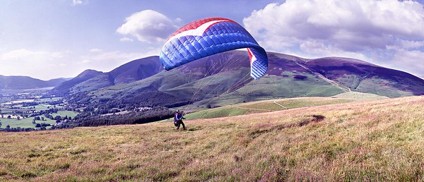 Latrigg : Paraglider Preparing To Launch (3)