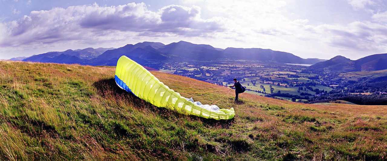 Latrigg : Paraglider Preparing To Launch (4)
