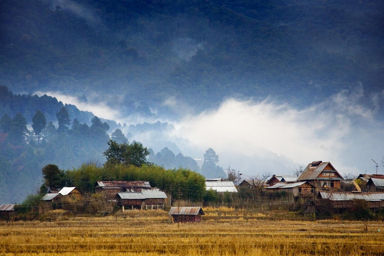 Hari, an Apatani village near Ziro. Arunachal Pradesh.