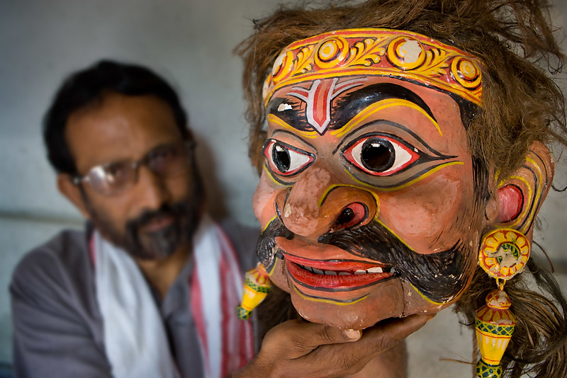 Mask maker, Majuli island. Assam.