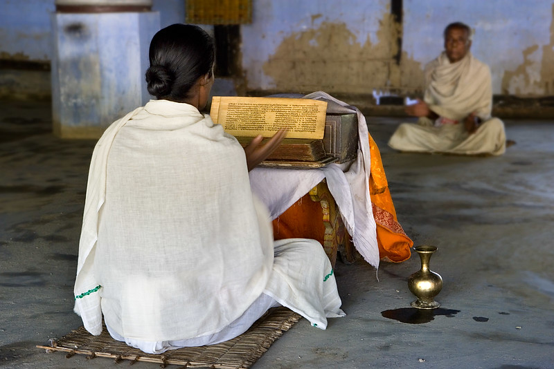 Monks reading the scriptures, Vaishnavism monastery. Majuli island. Assam.