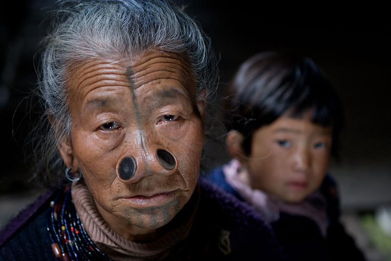 Apatani lady with nose plugs. Bamin Michi. Arunachal Pradesh.