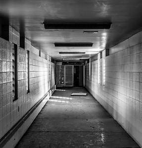 Corridor (B/W), North Facility, Wyoming State Penitentiary, Rawlins, WY.