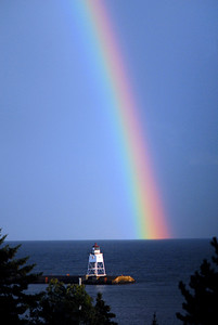 """Rainbow Over Grand Marais Lighthouse"" Grand Marais, Minnesota."