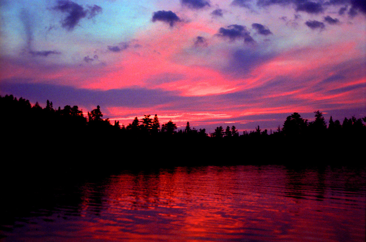 """""""Ball Lake Sunset"""" This lovely sunset was photographed on Ball Lake on the edge of the Boundry Waters Conoe Area Wilderness, Northern Minnesota."""