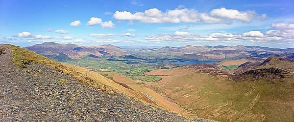 The panorama from Grisedale Pike summit 2593ft/791m.