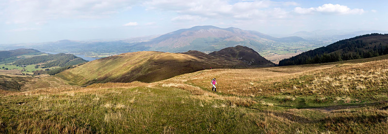 View north from Lord's Seat over Barf to Skiddaw. 180° Panorama.