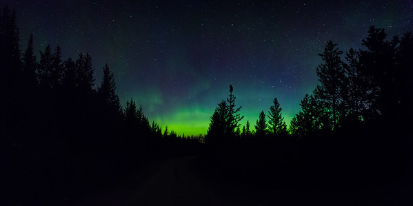 Sunset Road Northern Lights Glow-Panoramic