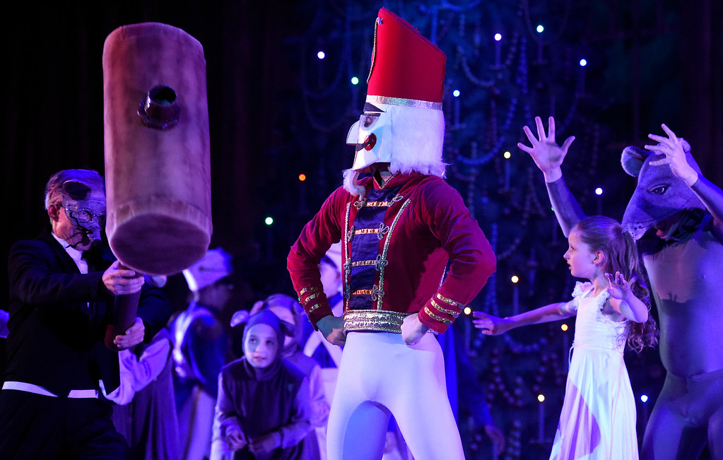 . BOULDER, CO - NOVEMBER 29, 2018: The Nutcracker Prince, played by Ryland Early, performs during a sensory-sensitive rehearsal for The Nutcracker on Thursday night at Skyline High School in Longmont. The performance is by the Boulder Ballet and the Longmont Symphony. For more photos of the rehearsal go to dailycamera.com (Photo by Jeremy Papasso/Staff Photographer)