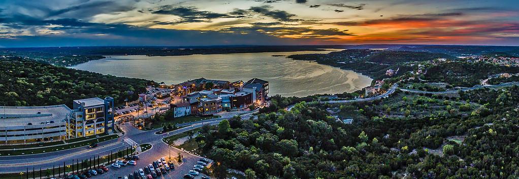 The Oasis on Lake Travis Sunset Panoramic