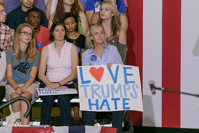 Crowd reacts to Hillary Clinton back on the campaign trail at University of North Carolina Greensboro on September 15, 2016