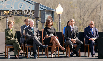 Laura Bush, Former President George Bush, First Lady Michelle Obama, President Barack Obama and Congressman John Lewis in Selma, Alabama, on March 7, 2015