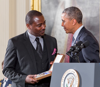Robert Battle accepts the Medal of Freedom for Alvin Aily (Posthumously)