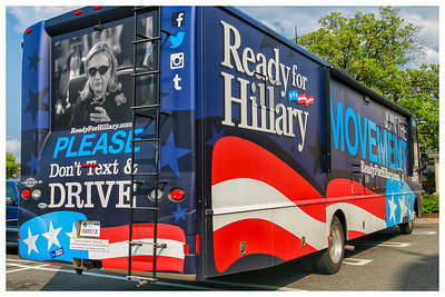 The Ready for Hillary Bus makes a stop at the American Tap Room at Willow Lawn in Richmond, VA.