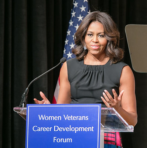 "Michelle Obama was the keynote speaker at the ""Women Veterans Career Development Forum"", on November 10, 2014"